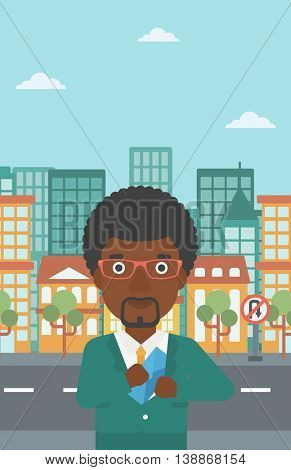 An african-american young businessman putting an envelope in his pocket on a city background. Vector flat design illustration. Vertical layout.