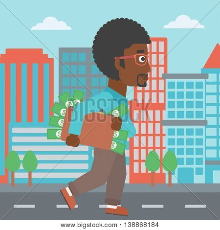 An african-american young businessman walking in the city with suitcase full of money. Vector flat design illustration. Square layout.