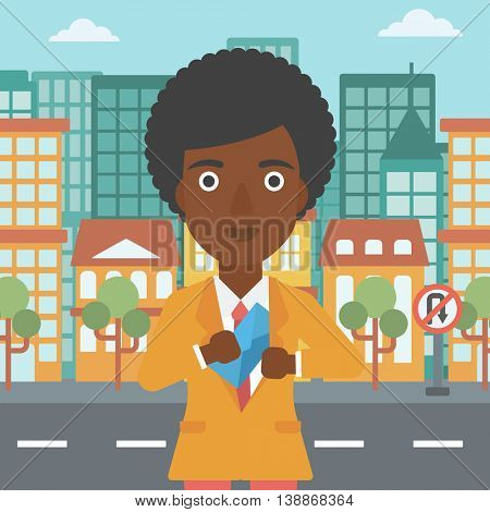 An african-american young business woman putting an envelope in her pocket on a city background. Vector flat design illustration. Square layout.
