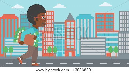 An african-american young businessman walking in the city with suitcase full of money. Vector flat design illustration. Horizontal layout.