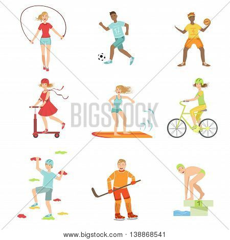People Enjoying Physical Activities Illustrations Isolated On White Background. Simplified Cartoon Characters Set