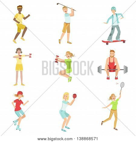 People Enjoying Sports Activities Illustrations Isolated On White Background. Simplified Cartoon Characters Set