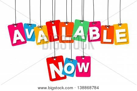 Vector colorful hanging cardboard. Tags - available now on white background