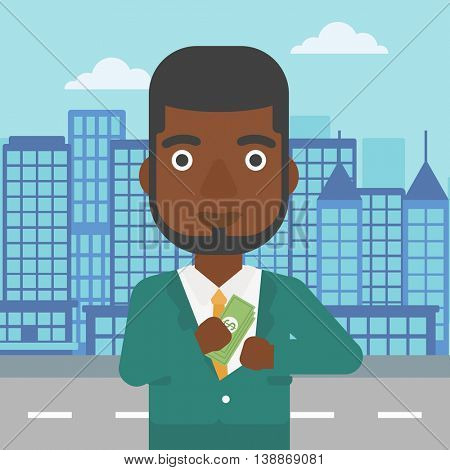 An african-american young businessman putting money in his pocket on a city background. Vector flat design illustration. Square layout.