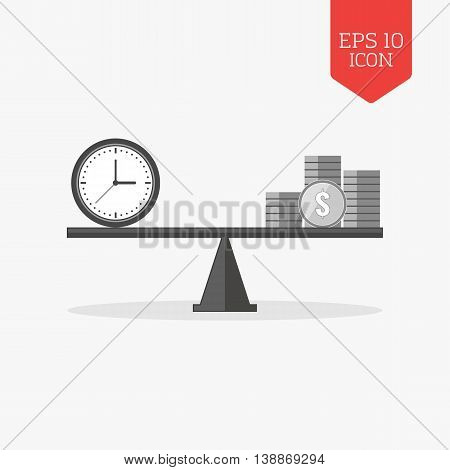 Clock And Coins On Seesaw Icon, Time Is Money Concept. Flat Design Gray Color Symbol. Modern Ui Web