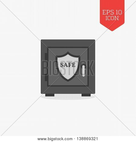 Safe With Shield Icon. Security, Protection Concept. Flat Design Gray Color Symbol. Modern Ui Web Na