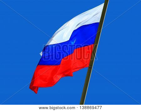 the Flag of Russia against blue background.