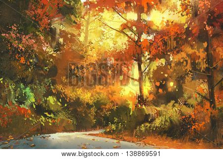 pathway through the colorful forest, autumn landscape painting, illustration