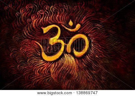 golden om symbol emanating light, illustration on abstract background.