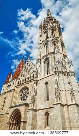 Saint matthias church entrance and tower in budapest hungary