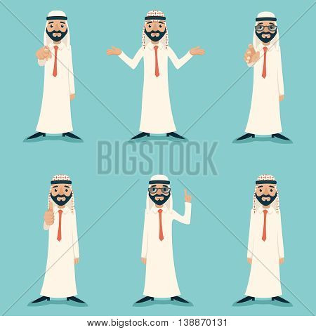 Finger Pointing Up Businessman Sale Presentation Cartoon Character Arab Traditional National Muslim Clothes White Board Icon Stylish Background Retro Cartoon Design Vector Illustration