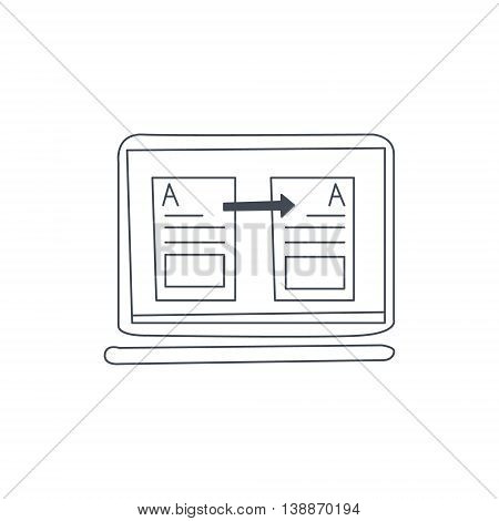 Document Translation In Computer Program Black And White Hand Drawn Illustration In Simplified Graphic Style On White Background