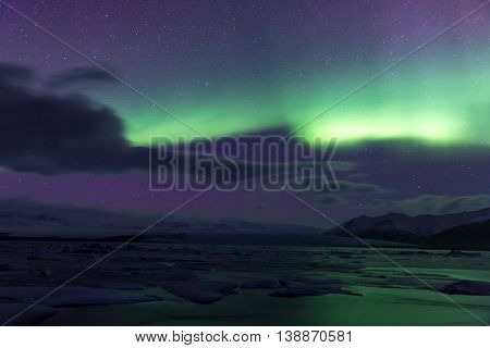 The Northern Light Aurora borealis at Jokulsarlon Glacier Lagoon Iceland
