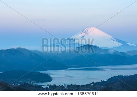Mountain Fuji in winter sunrise at Hakone Lake