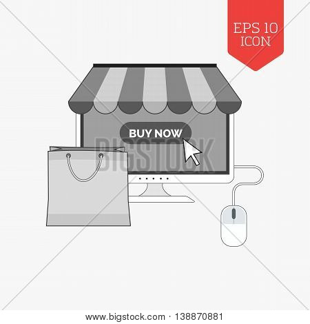 Monitor With Awning And Shopping Bag Icon, Online Shopping Concept. Flat Design Gray Color Symbol. M