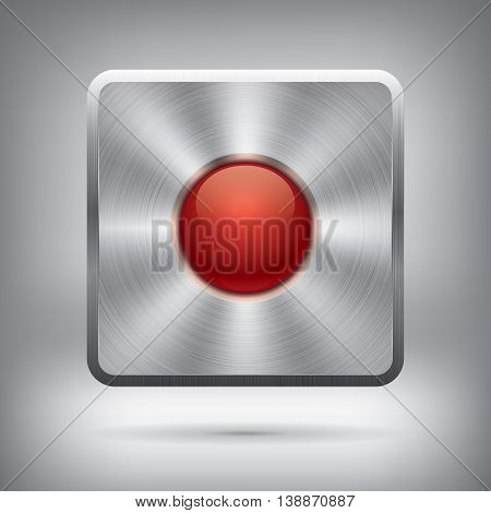 Metal button and glossy red ball, vector metallic texture, square element for you project design
