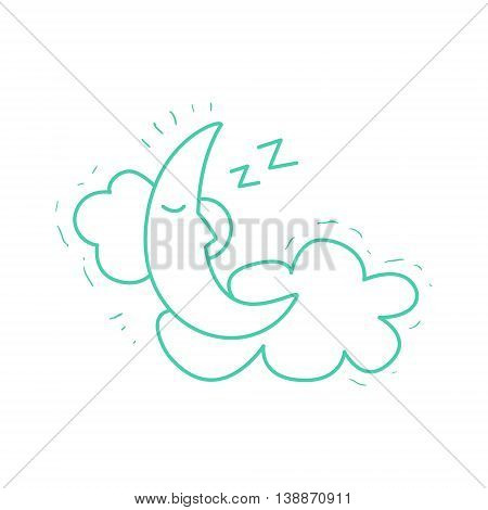 Crescent Moon Sleeping On The Clouds Hand Drawn Childish Illustration In Funny Comic Style On White Background