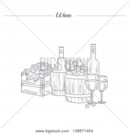Wine Bottle, Glass And Crate Of Grapes Hand Drawn Realistic Detailed Sketch In Beautiful Classy Style On White Background