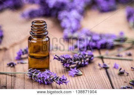 Herbal Oil And Lavender Flowers