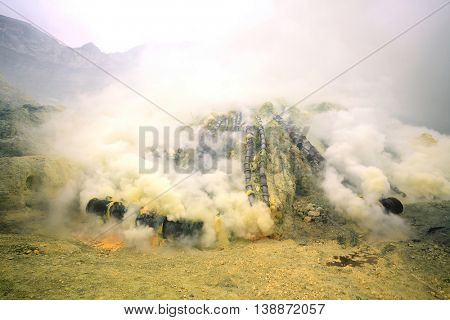 Landscape of Sulfur Mine at Khawa Ijen Volcano Crater Java Island Indonesia