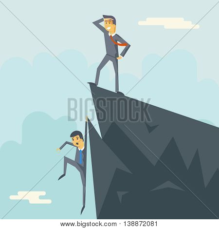 Achievement Top Point Goal Businessman Characters Symbol Mountain clouds Icon Stylish Background Modern Flat Design Vector Illustration