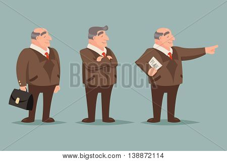 Adult Demonstration Businessman Big Boss Character Points Way Prosperity Success Wealth Icons Set Isolated Stylish Background Retro Vintage Art Cartoon Design Vector Illustration