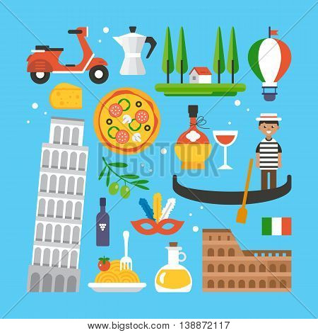Italy Flat Elements For Web Graphics And Design. Isolated Vector Illustration