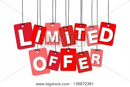 Vector colorful hanging cardboard. Tags - limited offer on white background