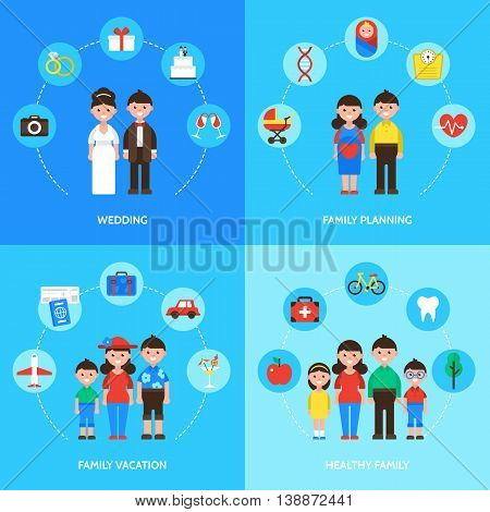 Family Concept, Wedding, Family Planning, Family Vacation And Healthy Family. Isolated Vector Illust