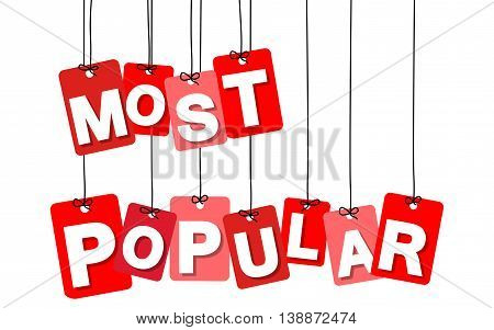 Vector colorful hanging cardboard. Tags - most popular on white background