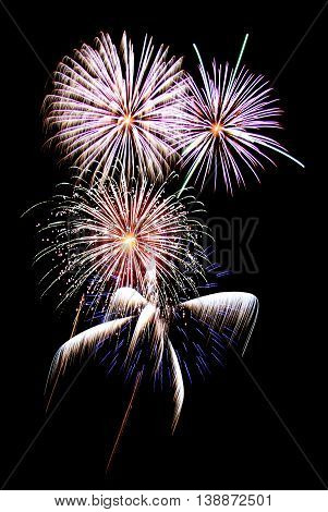 Colorful holiday fireworks on black sky background