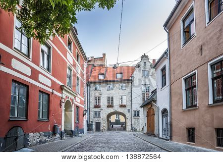 The Swedish Gate In Riga old Town. It's only remaining gate of city medieval defence wall. Panoramic montage of 3 HDR image