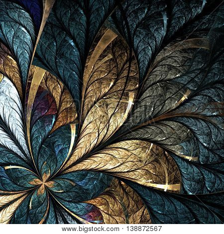 Beautiful flower pattern in stained-glass window style. Yellow and Green palette.