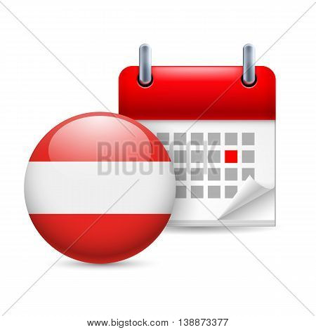 Calendar and round Austrian flag icon. National holiday in Austria