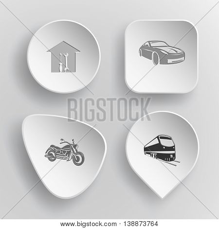 4 images: workshop, car, motorcycle, train. Transport set. White concave buttons on gray background. Vector icons.