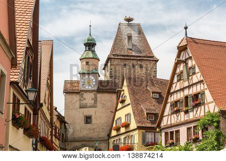 Rothenburg ob der Tauber historic town downtown in Rothenburg ODT , Franconia, Bavaria, Germany
