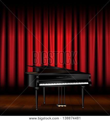 dark scene, red drape and the black grand piano