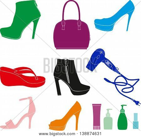 small set of daily women accessories such as shoes, handbags, hair dryer, cosmetics