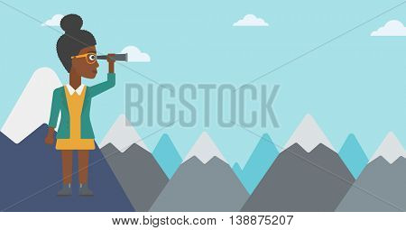 An african-american business woman standing on the top of mountain with spyglass. Business woman looking for business opportunities, success. Vector flat design illustration. Horizontal layout.