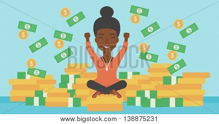 An african-american happy business woman with raised hands sitting on golden coins and money flying around. Successful business concept. Vector flat design illustration. Horizontal layout.