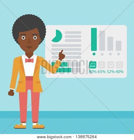 Business woman pointing at charts on a board during business presentation. Woman giving a business presentation. Business presentation in progress. Vector flat design illustration. Square layout.
