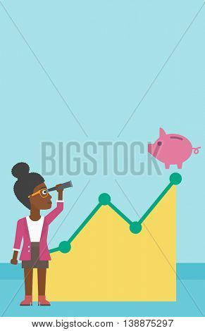 An african-american business woman looking through spyglass at a piggy bank standing at the top of growth graph. Vector flat design illustration. Vertical layout.