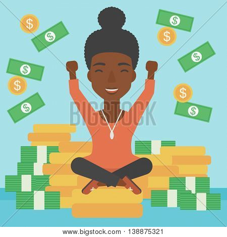 An african-american happy business woman with raised hands sitting on golden coins and money flying around. Successful business concept. Vector flat design illustration. Square layout.