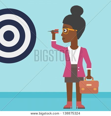 An african-american business woman with a briefcase aiming at a target board. Vector flat design illustration. Square layout.