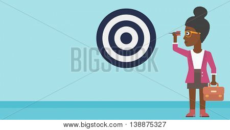 An african-american business woman with a briefcase aiming at a target board. Vector flat design illustration. Horizontal layout.