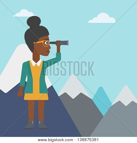 An african-american business woman standing on the top of mountain with spyglass. Business woman looking for business opportunities, success. Vector flat design illustration. Square layout.
