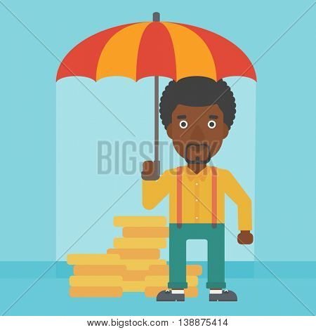 An african-american young businessman standing in the rain and holding an umbrella over coins. Business insurance concept. Vector flat design illustration. Square layout.
