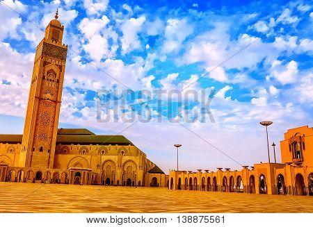 CASABLANCA, MOROCCO-OCTOBER 01, 2014: Hassan II Mosque situated on the beach of Casablanca is the biggest mosque in Morocco and has the biggest minaret in the world.