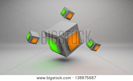 Abstract 3d cube rendering design wallpaper background design concept