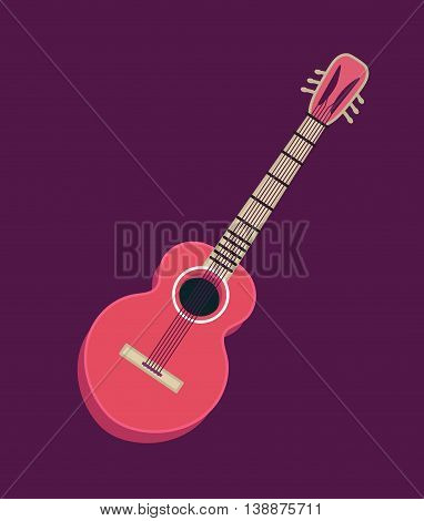 Classical acoustic guitar. Isolated silhouette classic guitar. Musical string instrument. Vector illustration in flat style.